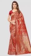 Jam Red Banarasi Silk Saree