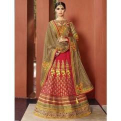 Hot Pink and Beige Jacquard And Net Half N Half Wedding Saree
