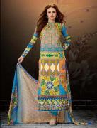 Multicolor Cotton Satin Salwar Kameez