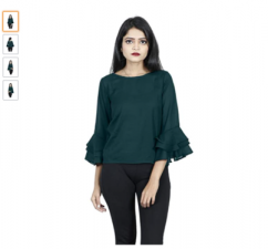 Green Triple Flared Sleeves Top