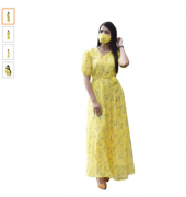 Yellow Georgette Printed Maxi Dress with Matching Mask