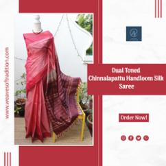 Red and Purple Chinnalapattu Handloom Silk Saree with Maroon Pure Silk Blouse