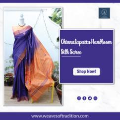 Violet And Orange Chinnalapattu Handloom Silk Saree