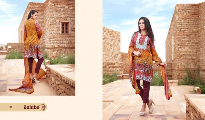 Sahiba -Designer Cotton Satin Printed Suit -By textilebazar.in