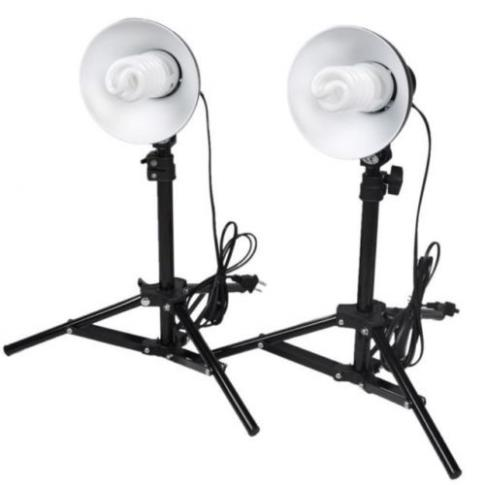2X LIGHT SET FOR PHOTO BOX (LIGHT TENT) ALL SIZES WITH WHITE BULB LIGHT & STAND