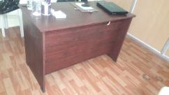 BROWN TABLE FOR MD OR RECEPTION WITH 2 CUPBOARDS & LEG REST