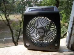 Solar powered portable 8 inch 3 speeds fan with two levels LED light