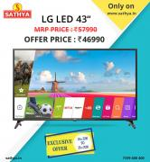 Buy LG 43 inch LED TV is Now at Great Offer Price Only at Sathya