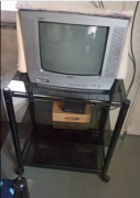 Haier TV colorful 36 cm with glass trolley