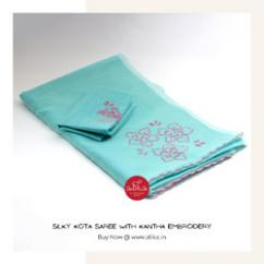 Blue Kota silk saree with Kantha floral embroidery