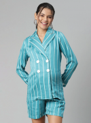 Double-Breasted Maternity Pajama Set - White Striped