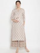2pc. Cotton Round Tie up Maternity Suit Set