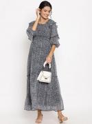 Maternity Chiffon Smocked Waist Maxi Dress