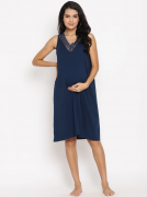Cotton Knit Maternity Nightie with Lace Detail - Blue