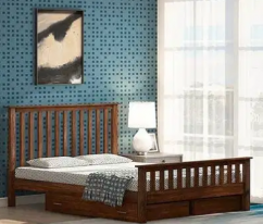 Athens Double Bed with storage in brown color