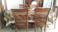 Solid wood six seater dining table set