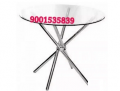 Round glass top cross stick table