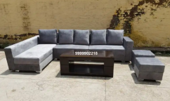 Grey colour L shaped sofa set with center table & puffies