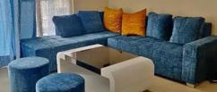 Blue L shape sofa set with table for sale
