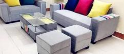 Bright Brand new sofa set with table & puffies