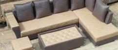 L shape sofa set with table & puffies for sale in delhi