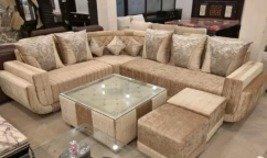brand new L shape sofa set with stylish center table & puffies