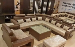 new desiner L shape sofa set with stylish center table & puffies delhi