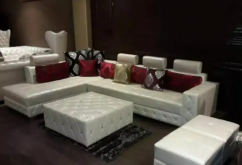 L shape sofa set with center table