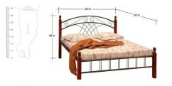 Queen size metal and wood cot
