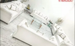 Royal crystal white leather sofa seven seater
