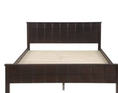 Wooden bed without mattress
