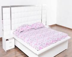 ZUCK FABRIC STORAGE BED IN WHITE COLOUR
