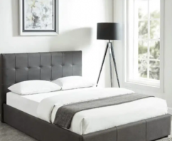 UPHOLSTERED STORAGE BED IN GREY COLOUR