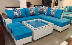 New designer sofa set L-shap complete with glass top centre table