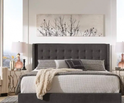 designer  UPHOLSTERED BED IN CHARCOAL COLOUR