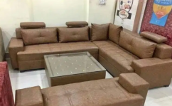 Brand new L shape sofa set with table & couch