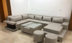 Brand new U shape sofa set with table & puffies