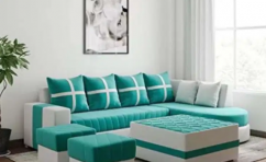 L shape sofa set with table & puffies