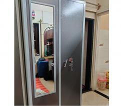 Solid metal cupboard with mirror