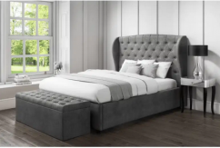Bombox Storage King Bed in Grey Colour