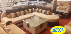 brand new l shape brown and grey sofa