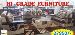 brand new seven seater creme and brown sofa with center glass table