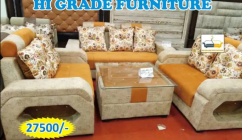 new ornage and creme 7 seater sofa set with table