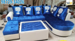 l shape blue and white corner sofa with table