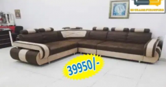 new creme and brown l shape sofa with table