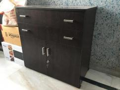 Walnut coloured tv unit and chest of drawers with lock