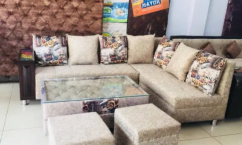 IMPRESSIVE 8 seater sofa set with center table and puffy in cream color