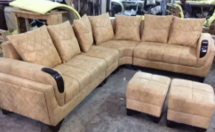 L shape sofa with center table and puffies