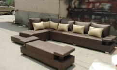 New desiner brown L shape sofa set with two seater couch