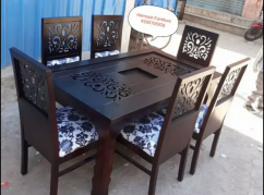 EXCLUSIVE DESIGNED teak wood 6 chairs dining table
